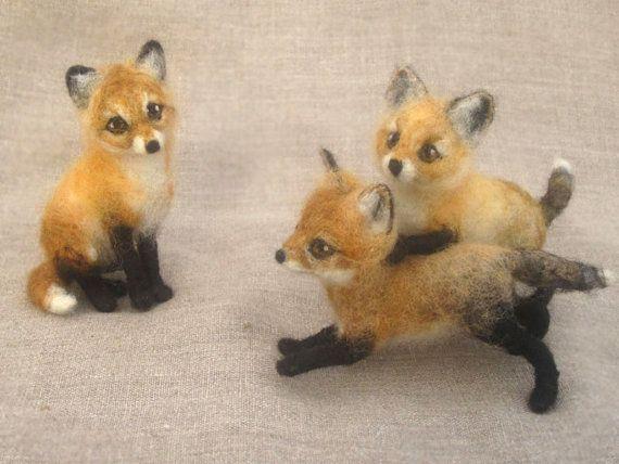 Needle felted fox kit poseable baby animal by Ainigmati on Etsy, $110.00
