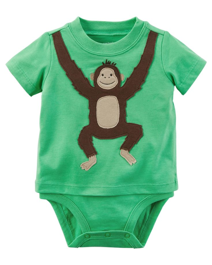 Featuring A Sweet Monkey This Double Decker Bodysuit Gives Your Little One Big