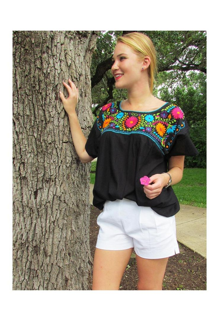 $30.00 Xochitl Blouse - Black with Multi Color Embroidery
