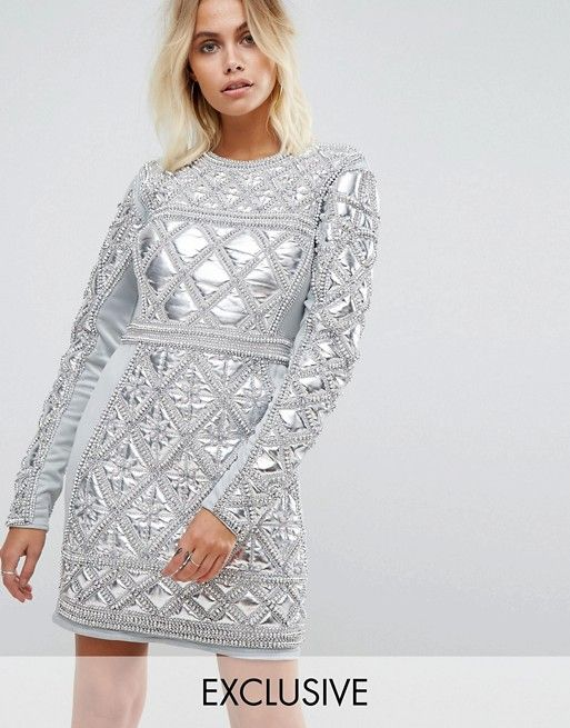 d9acac07b78ac8 A Star Is Born Embellished Mini Dress With Metallic Quilted Detail ...