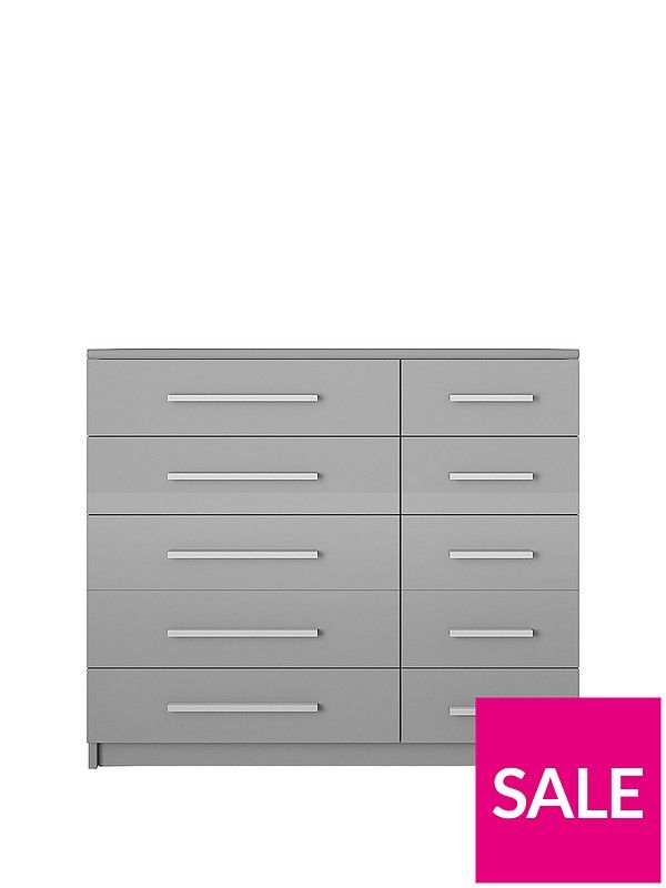 . Prague Gloss 5   5 Wide Chest of Drawers   bedroom furniture   Wide