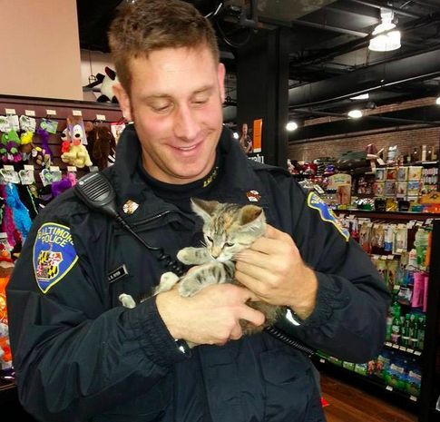 Boyer has a been a cop for about three and a half years, and though rescuing is not in his job description, he said most of his squad does it. | This Cat-Rescuing Cop Has Become An Internet Heartthrob