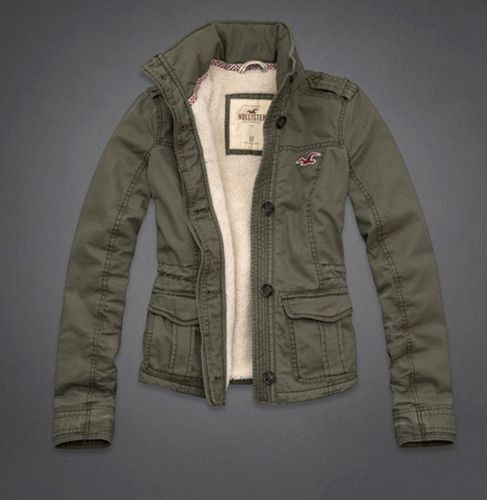 Army Green Hollister Abercrombie Cargo Military Parka Sherpa Jacket Coat L   a8367de9e