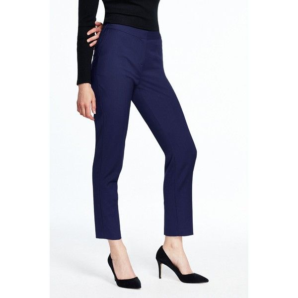 Canvas by Lands' End Women's Slim Ankle Pants ($95) ❤ liked on Polyvore featuring pants, blue, blue ankle pants, slim trousers, ankle jeans, blue pants and slim fit trousers