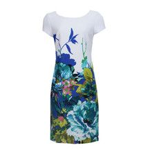Sandra Darren Ivory Pattern Print Dress