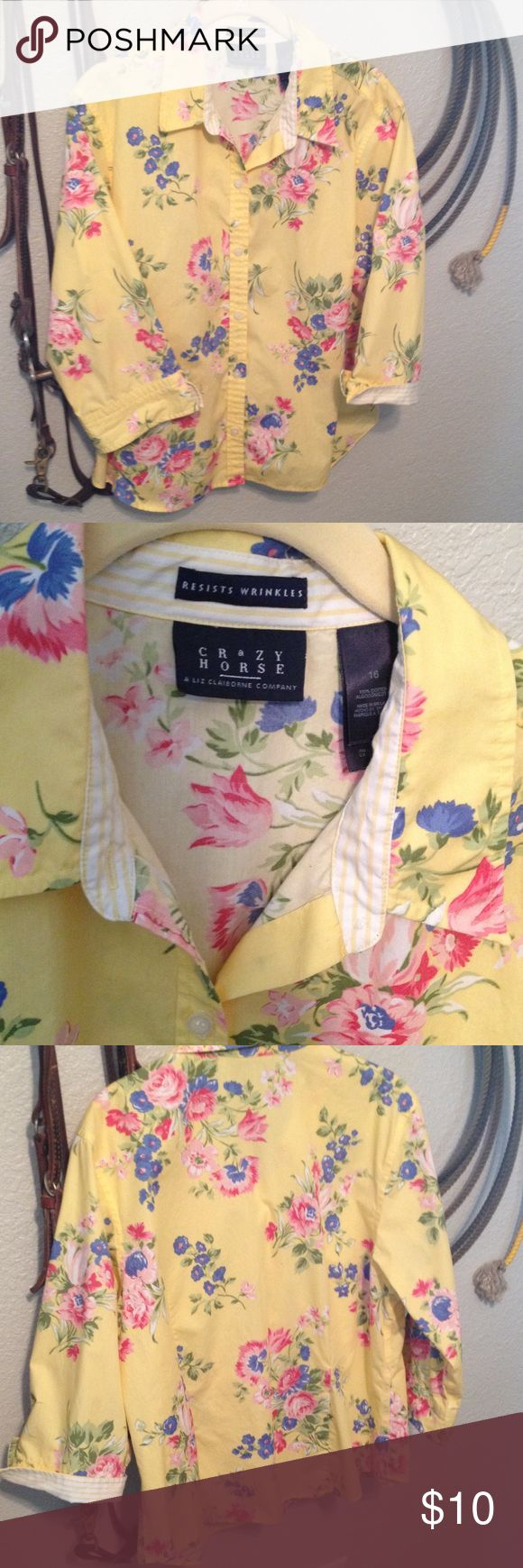 Crazy Horse Ladies Shirt 100% cotton, floral, 3/4 sleeves, size 16 Crazy Horse Tops Button Down Shirts