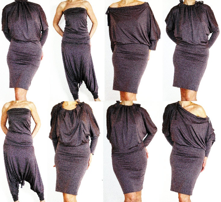 Convertible Wrap Infinity Multi - way Dress Pants in Dark Mocha jersey , No.3