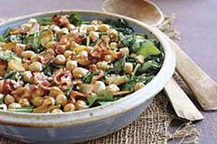 Wilted Spinach with Baked Garbanzo Beans recipe