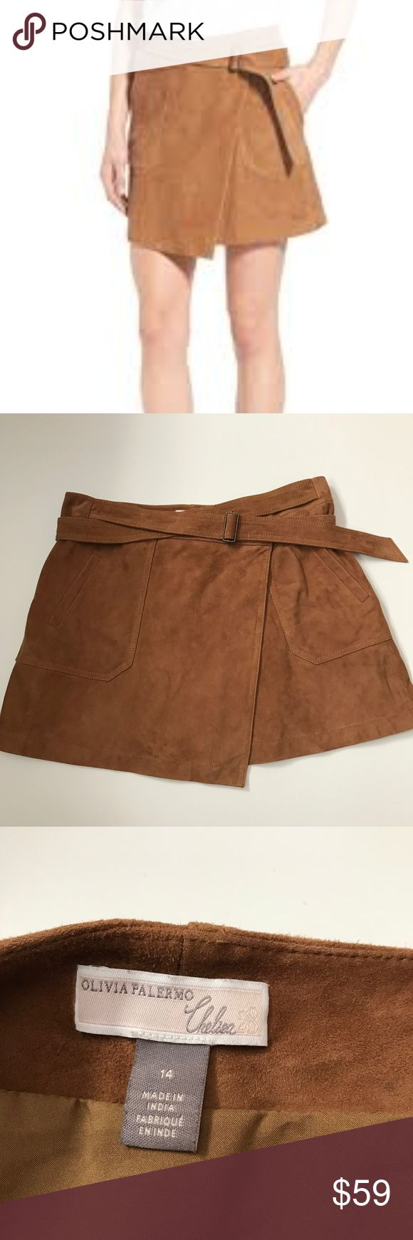 """Olivia Palermo Chelsea28 Suede Wrap Skirt - nwot Excellent condition, no flaws, never worn Buttery-soft suede leather elevates a leg-flaunting miniskirt styled in an ultra-chic wrap silhouette and cinched at the waist by a crisscrossing adjustable belt. Sleek front patch pockets finish this '70s-inspired look. measures: 17"""" across top of waist, 16.5"""" in length. olivia palermo Chelsea28 Skirts Mini"""