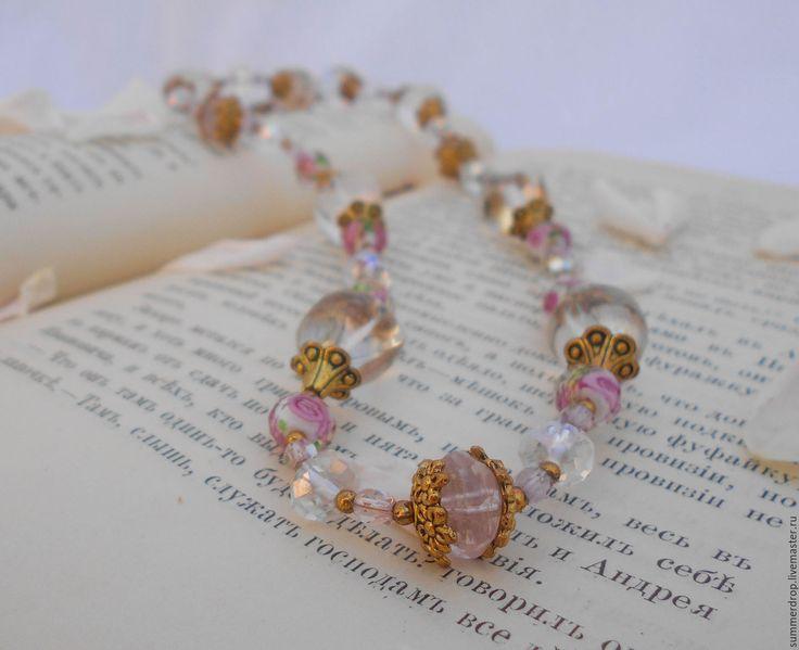 """Стеклянные бусы с розовым кварцем """"Благородный розовый"""". Красивые, поднимающие настроение, по-настоящему летние бусы."""