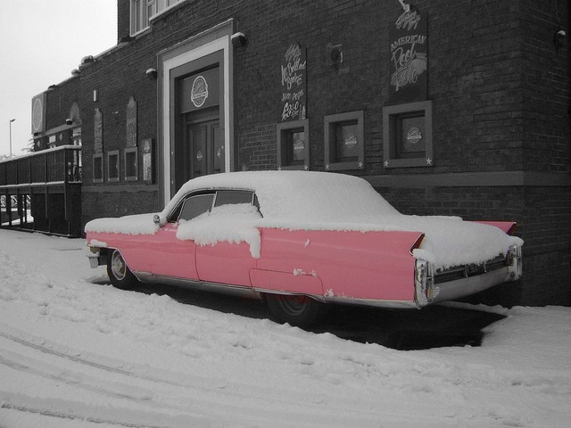 Pink  This Old Cadillac 1970s? Cadillac  is used to publicise a bar in Scunthorpe, Lincolnshire.