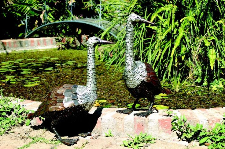 Goose and Gander garden sculptures