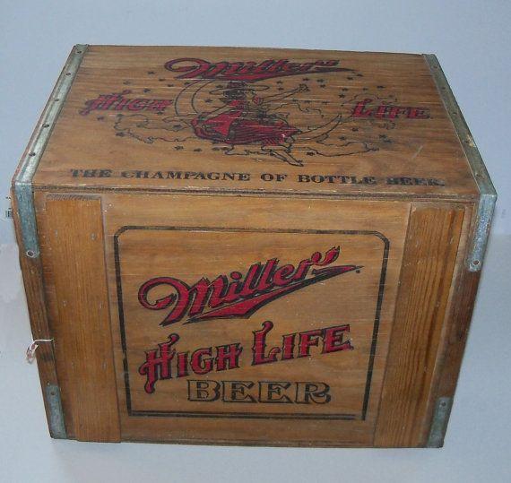 RARE Miller High Life Beer Wooden Crate Miller by ManchVegasTiques, $98.00