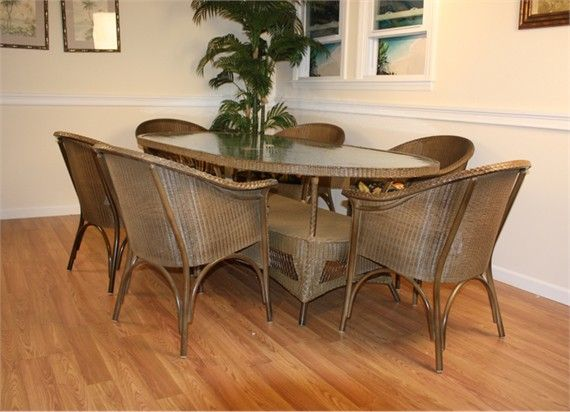 Lloyd Flanders Outdoor Wicker Dining Set Of 7 Sale Closeout