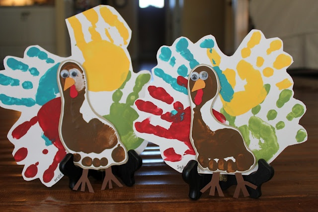 hand and foot print turkeys!
