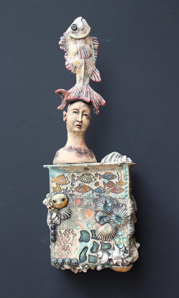 Hand Made Ceramic Clay Art Figure Wall Hanging Sculpture With Etsy In 2020 Ceramic Sculpture Clay Art Sculpture
