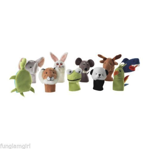 Ikea Set of 10 Kids DJUR Finger Puppet Animal Toys NEW in Package