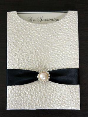 Embossed Ivory Pebbles Pocket Wedding Invitation DIY Kit for 50 Invites