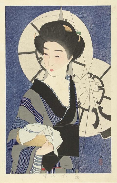 japanese print | Tumblr Coming out of the bathhouse Author: Kotondo, Torii (Japanese, 1900-1976) Date: 1933 Medium: Color woodblock print Location: Rijksmuseum, Amsterdam