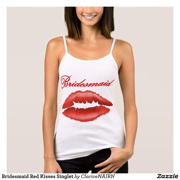 Bridesmaid Red Kisses Singlet