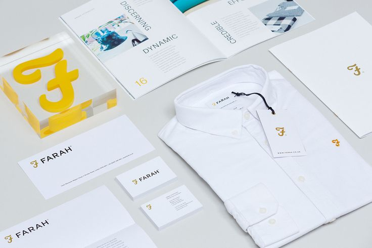 Brand identity, stationery and print communication for British fashion label Farah by graphic design studio Post