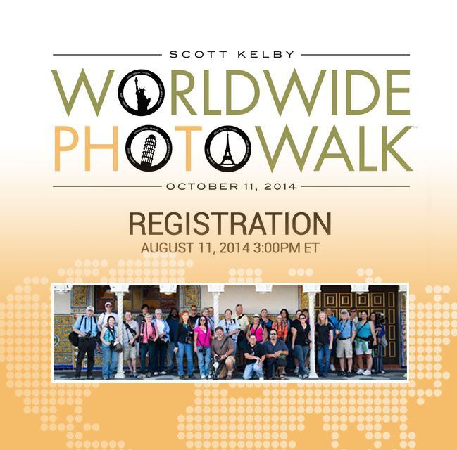 The photography world unites on Saturday, Oct. 11 in cities all over the world! Join the Scott Kelby Worldwide Photowalk, the largest social photography event in the world, and it is FREE! Click the image to find out more! #WWPW2014