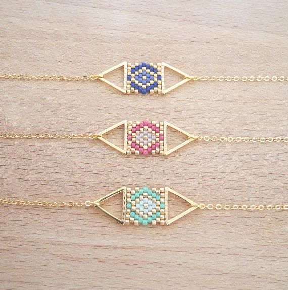 Double Triangle weaving of Perle gilded with fine gold