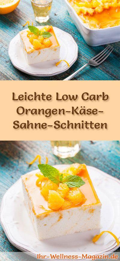 Rezept für leichte Low Carb Orangen-Käse-Sahne-Schnitten: Der kohlenhydratarme Kühlschrankkuchen wird ohne Zucker und Getreidemehl zubereitet. Er ist kalorienreduziert, ...