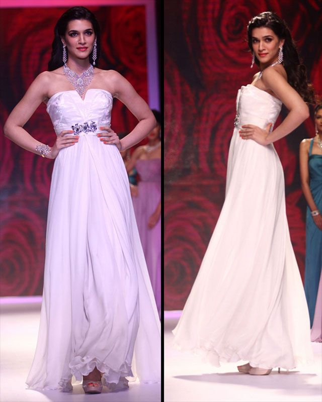 Heropanti actress Kriti Sanon looked chic in a white flowing gown.
