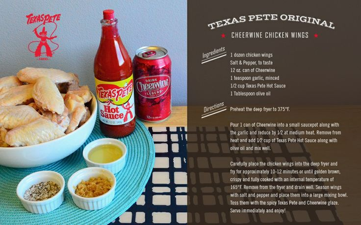 TOUCH this image: Texas Pete Original Cheerwine C hicken Wings Ingredients by Texas Pete Hot Sauce