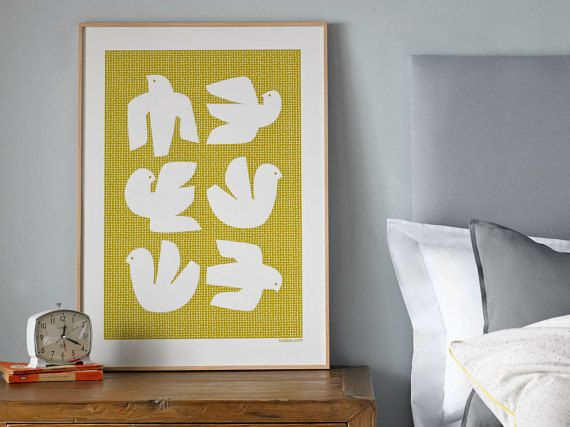 Flock of Birds. Large oversized Scandinavian style by Bobbie Print