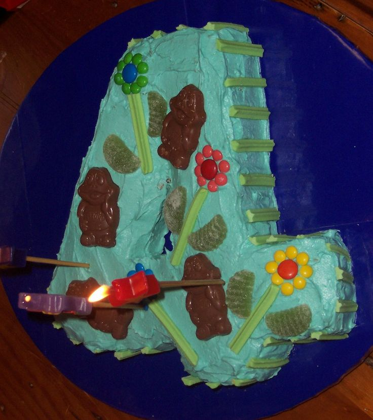 Not a particularly well shaped 4th Birthday cake.
