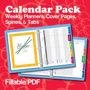Purchase once—use forever! This editable (fillable PDF) calendar pack keeps you organized while saving time and money. Type dates and information into the PDF fillable pages, or print out and write the information by hand. We tried to make these completely versatile; use them as planners, calendars, sub binders, meeting binders, student notebooks—or anything else you desire. These are especially designed for middle school and high school teachers. $