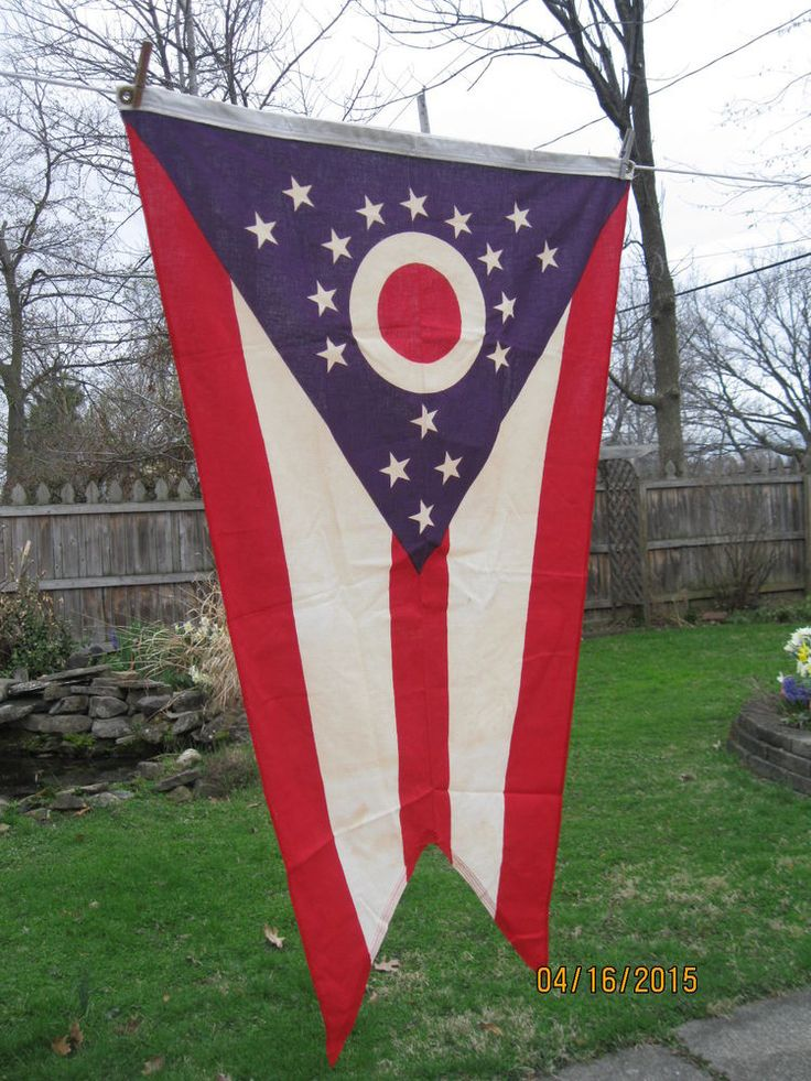 Vintage Colonial State of OHIO Flag Cloth Brass Tabs 3'x5' Perfect for Dorm