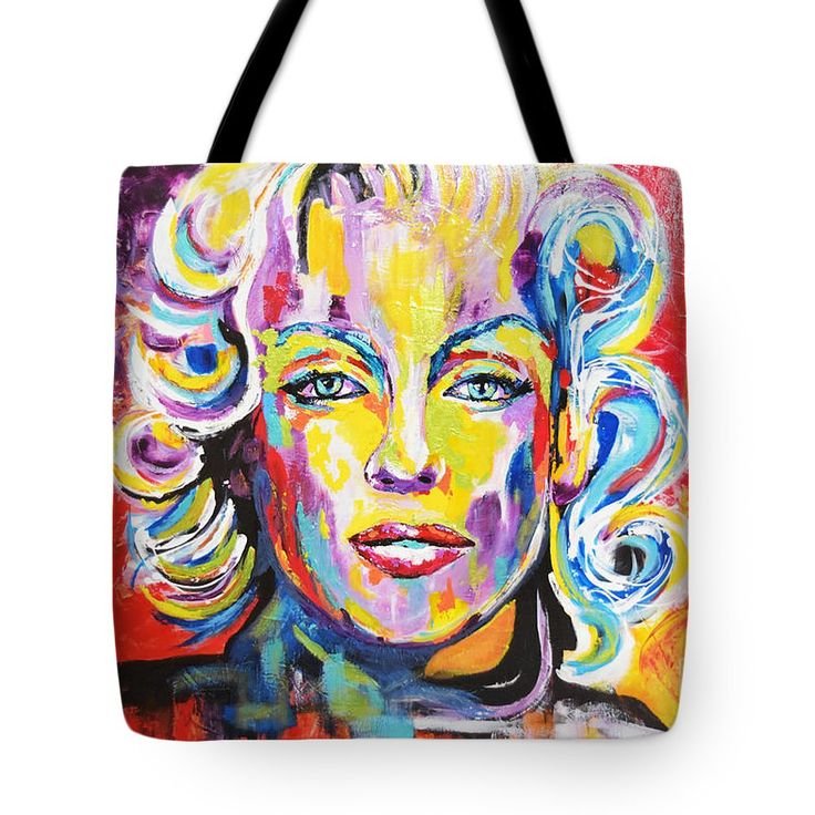Marilyn Monroe Tote Bag featuring the painting Marilyn Monroe / Awesomeness by Kathleen Artist PRO