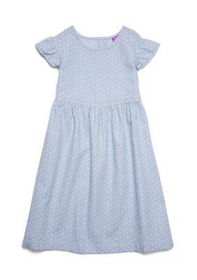 J. Khaki Girls' Polka Dot Denim Dress Toddler Girls - Denim - 4T