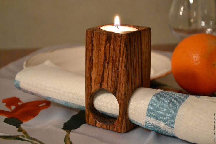 Купить или заказать Подсвечник 'Зебрано' в интернет-магазине на Ярмарке Мастеров. Оригинальный подсвечник из африканского дерева зебрано под свечу диаметром 4см и отверстиями для салфеток. Покрыто маслом и воском. Такой подсвечник может стать отличным дополнением к романтическому вечеру, или подарком вашим близким. Возможно изготовление из другого дерева.