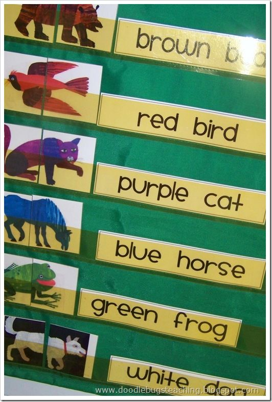 Brown Bear Brown Bear retelling and pocket chart strips....this is great for identifying and recognizing color words.  Removing words from a book helps a child to move away from  memorizing a passage to beginning to identify the words. Also great to use for sequencing the story...a great comprehension activity :)