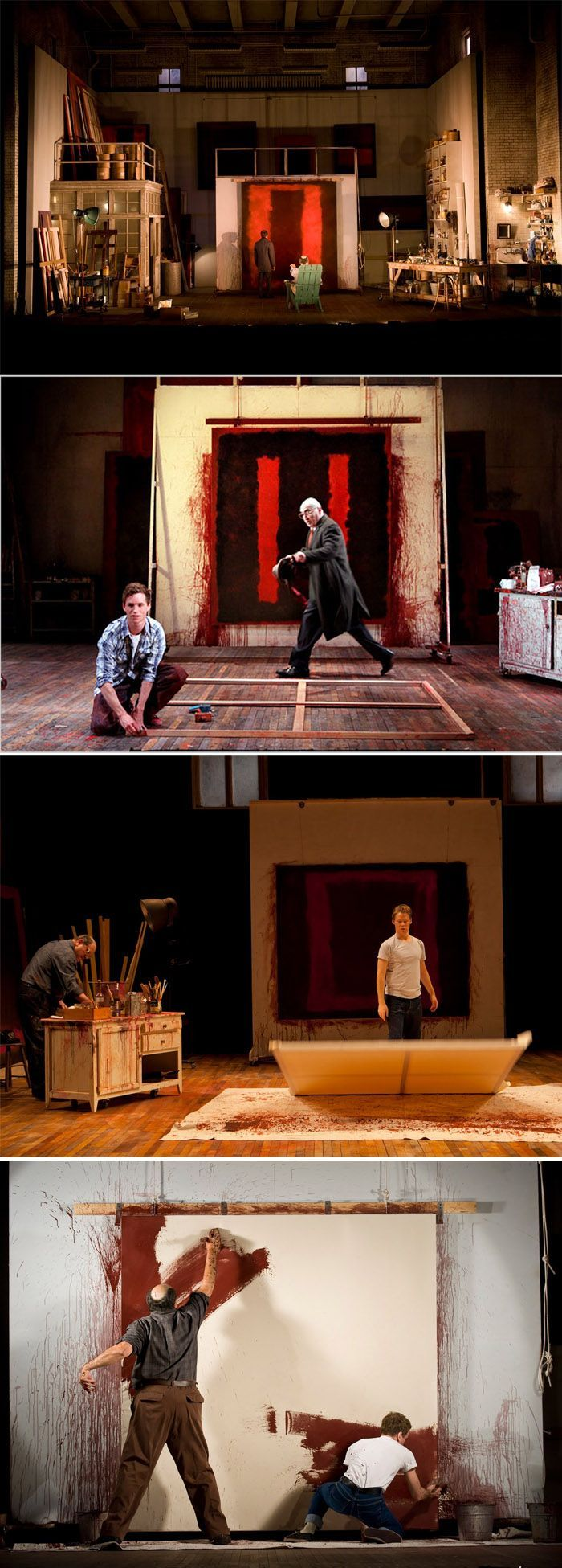 """""""Red is a play by American writer John Logan about artist Mark Rothko....The original production was directed by Michael Grandage and performed by Alfred Molina as Rothko and Eddie Redmayne as his fictional assistant Ken..."""