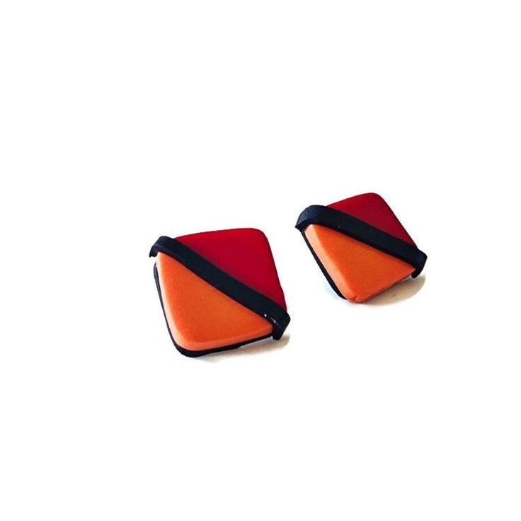 Retro Earrings Handmade, Square Stud Earrings for Women, Push Back or Clip On Earrings, Geometric Statement Jewelry, Modern Art, Unique Gift