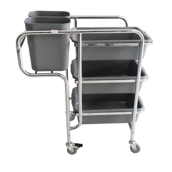 Dinner Collector cart. - Type		308KL-DCAB - Color	:	Stainless Trolley, Grey Bucket&Tableware - product size 	:	85x45x92.5cm - Tableware size	:	53x38x15cm - Square Ordinary Bin	:	14L - Harga per Unit.  http://alatcleaning123.com/janitorial-trolley/1643-dinner-collector-cart-.html  #dinnercollectorcart #alatcleaning
