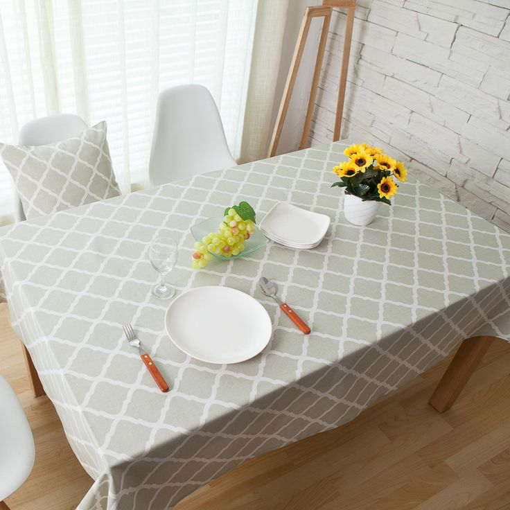 Rhombus Printed Linen Tablecloth Table Cloth Rectangular Mantel Toalha De Mesa Nappe For Wedding