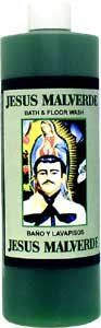 "Jesus Malverde Bath and Floor Wash 16 fl. oz. by Indio Products. $5.95. 16 fl. oz. (472ml) Plastic Bottle. Jesus Malverde ""El Rey Guei de Sinaloa"" has earned a Robin Hood type image.  His intercession is sought by those with troubles of various kinds.  Use Jesus Malverde bath wash when you need to call upon him for help, guidance or protection."