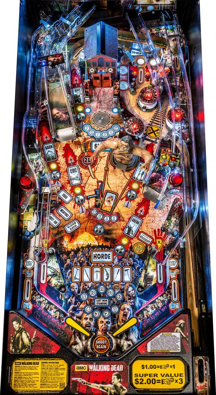 Stern's The Walking Dead pinball machine! Can't WAIT to play this, it is GORGEOUS. The pinball community's very excited, because odd as it may sound, there hasn't been a zombie-themed pinball machine before this (there are some indie themes in development, but not, say, Dawn of the Dead or any other big-license title).