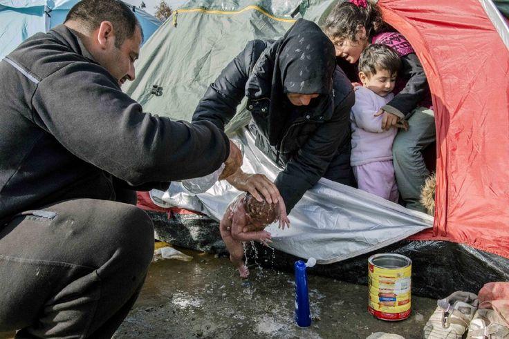 Il neonato nella tendopoli di Idomeni. L'attimo in cui i genitori siriani lavano il bambino di nome Bayan fuori dalla tenda, nel campo profughi al confine greco-macedone