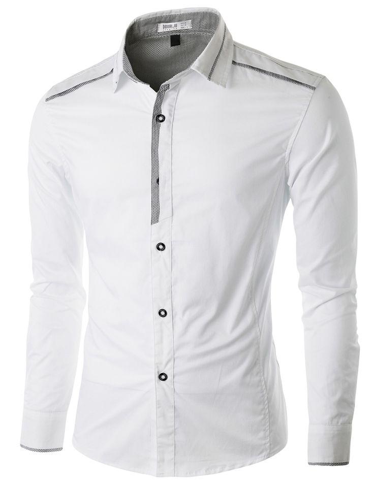 Doublju Men's Casual Button Down Shirt with Piping Detail #doublju