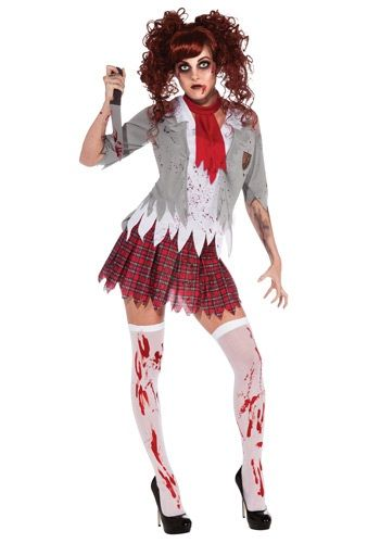 Zombie School Girl Costume.  The ZomBeatles: A Hard Day's Night of the Living Dead Zombie party decorating & costume ideas.