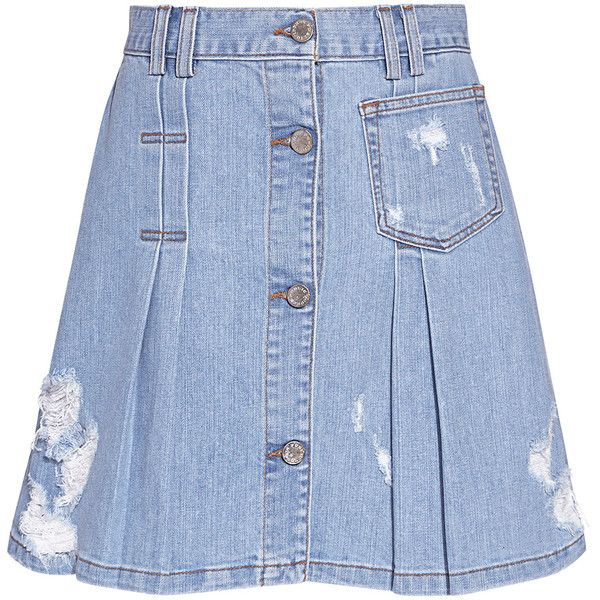 Public School - Penny Pleated Distress A-line Denim Mini Skirt ($375) ❤ liked on Polyvore featuring skirts, mini skirts, denim skirt, distressed denim skirts, pleated a line skirt and short skirts