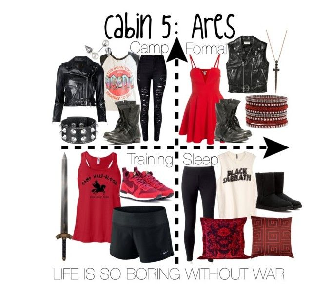 """Cabin 5: Ares"" by aquatic-angel ❤ liked on Polyvore featuring Bee Goddess, Yves Saint Laurent, WithChic, Junk Food Clothing, Steve Madden, R13, Majorica, NIKE, Jockey and Timorous Beasties"
