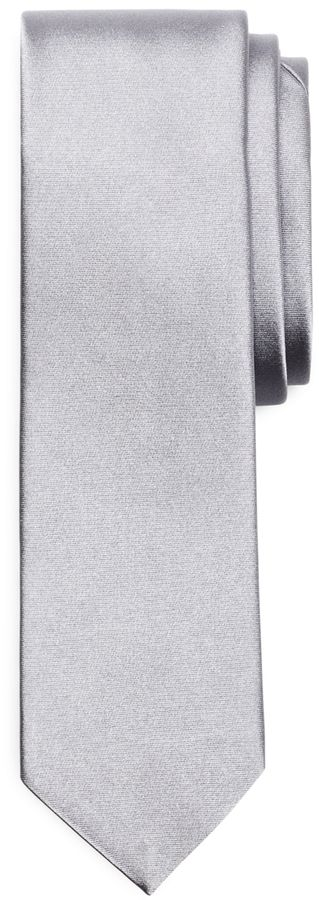 $115, Grey Silk Tie: Brooks Brothers Formal Satin Slim Tie. Sold by Brooks Brothers. Click for more info: https://lookastic.com/men/shop_items/320801/redirect